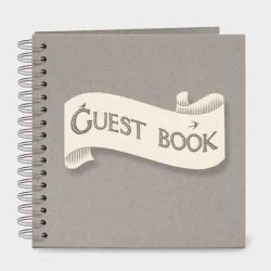 East of India Guest Book Ribbon Book White