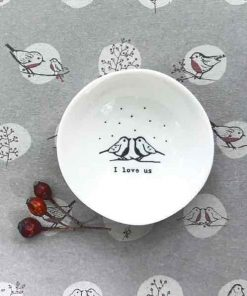 East of India I Love Us Small Porcelain Bowl Pattern