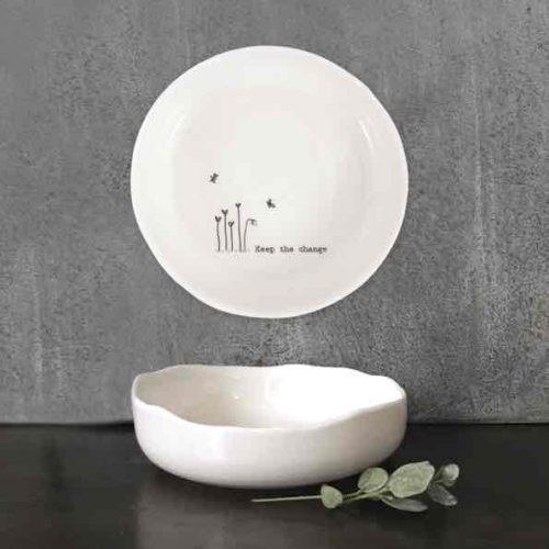 East of India Keep The Change Porcelain Trinket Dish