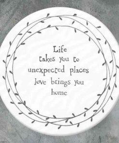 East of India Life Takes You Porcelain Leaf Coaster
