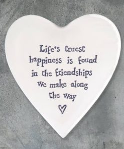 East of India Life's Happiness Porcelain Heart Coaster