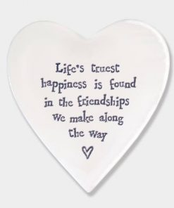 East of India Life's Happiness Porcelain Heart Coaster White