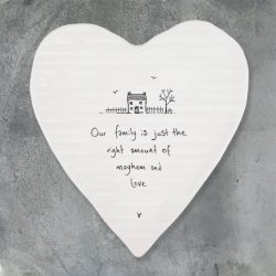East of India Mayhem & Love Porcelain Heart Coaster