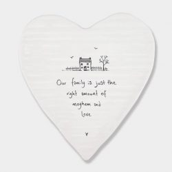 East of India Mayhem & Love Porcelain Heart Coaster White