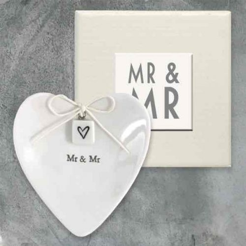 East of India Mr and Mr Porcelain Ring Dish