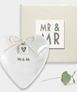 East of India Mr and Mr Porcelain Ring Dish White