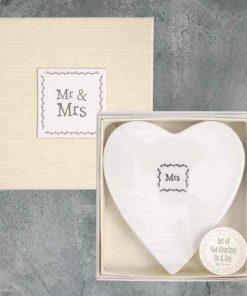 East of India Mr and Mrs Porcelain Coaster Set
