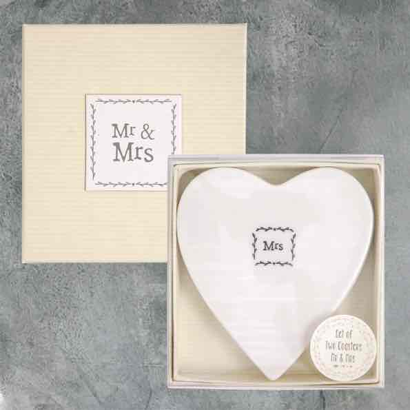East of India Mr and Mrs Porcelain Coaster Set