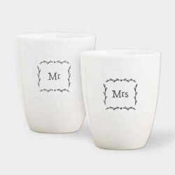 East of India Mr and Mrs Porcelain Egg Cup Set White
