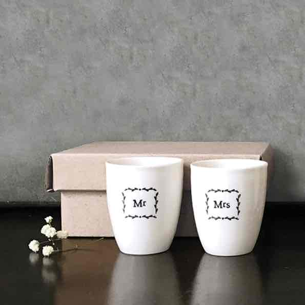 East of India Mr and Mrs Porcelain Egg Cup Set