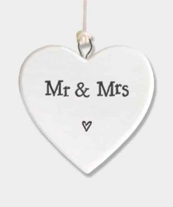 East of India Mr and Mrs Porcelain Heart White