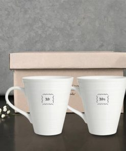 East of India Mr and Mrs Porcelain Mug Set