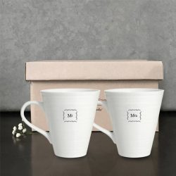 East of India Mr and Mrs Porcelain Mug Set