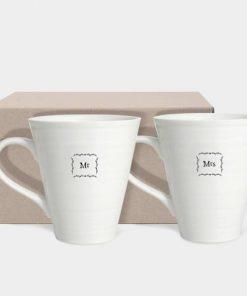 East of India Mr and Mrs Porcelain Mug Set Box