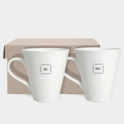 East of India Mr and Mrs Porcelain Mug Set Box