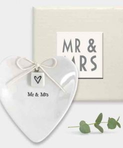 East of India Mr and Mrs Porcelain Ring Dish White
