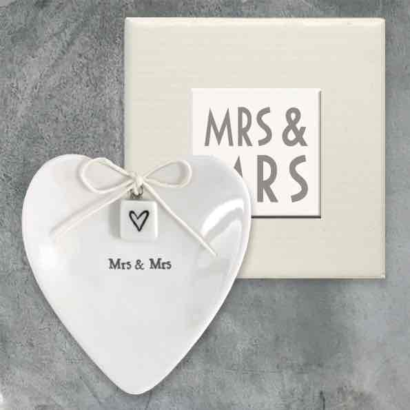 East of India Mrs and Mrs Porcelain Ring Dish