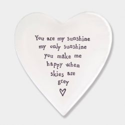 East of India My Sunshine Porcelain Heart Coaster White