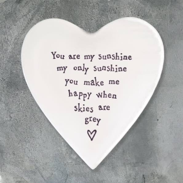 East of India My Sunshine Porcelain Heart Coaster