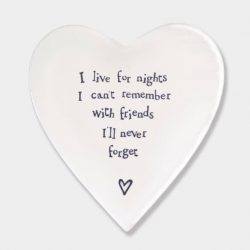 East of India Never Forget Porcelain Heart Coaster White