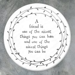 East of India Nicest Friend Porcelain Leaf Coaster