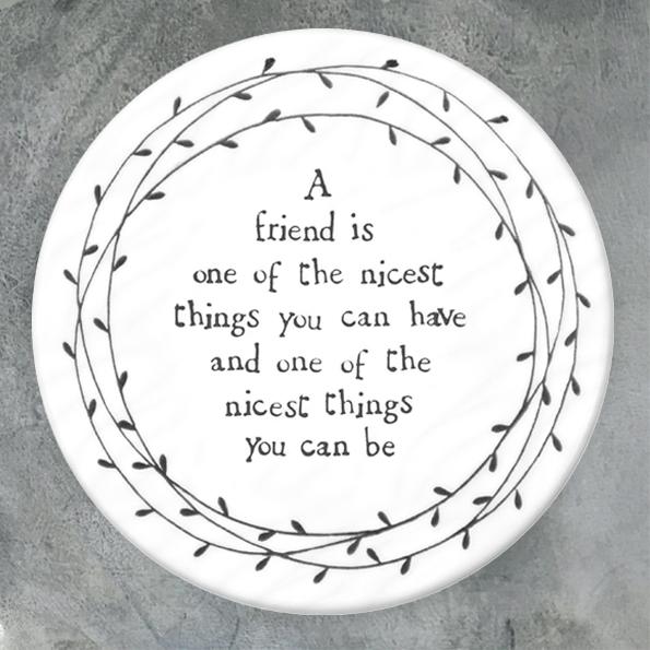 East of India Nicest Friend Porcelain Leaf Coaster