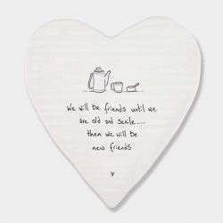 East of India Old Friends Porcelain Heart Coaster White