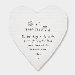East of India People Places Memories Porcelain Heart Coaster White