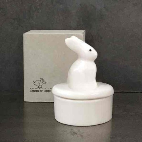 East of India Porcelain Bunny Trinket Pot