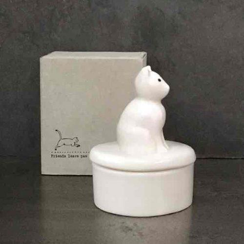 East of India Porcelain Cat Trinket Pot