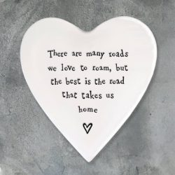 East of India Road Home Porcelain Heart Coaster