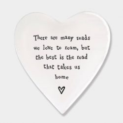 East of India Road Home Porcelain Heart Coaster White