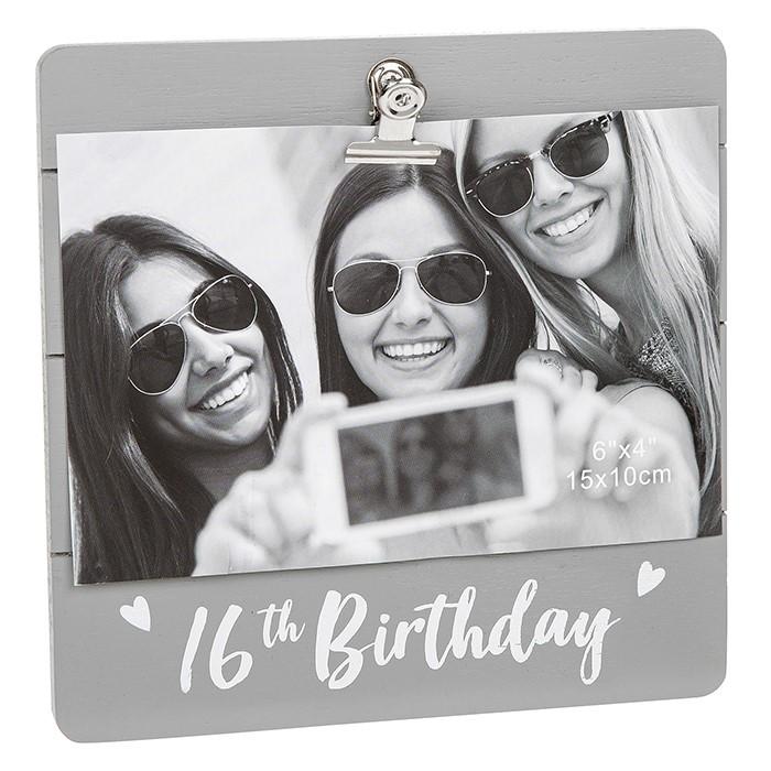 16th Birthday Grey Cutie Clip Photo Frame