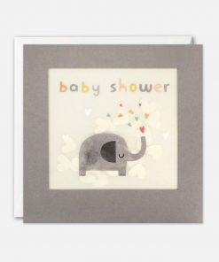 Baby Shower Elephant Grey Paper Shakies Card