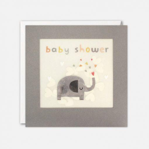 Baby Shower Elephant Grey Paper Shakies Card