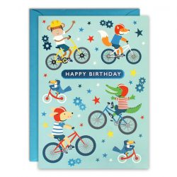 Bikes kids birthday card
