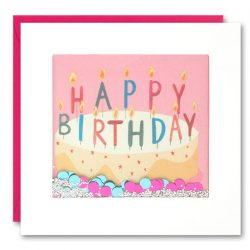 Birthday cake with pink background shakies card