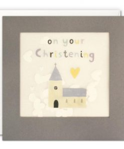 Christening Church Grey Paper Shakies Card