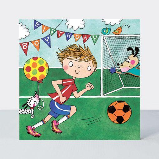 Birthday Boy Football & Dog Jigsaw Greeting Card
