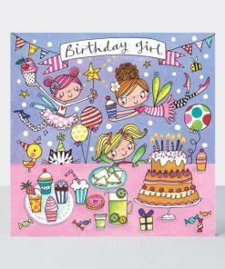 Birthday Girl Fairy Party Jigsaw Greetings Card