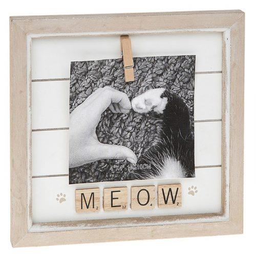 Meow Scrabble Peg Photo Frame