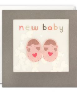 New Baby Grey Paper Shakies Card