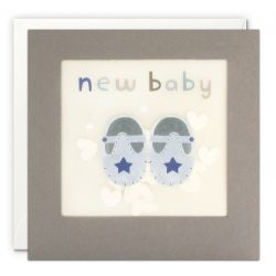 New Baby Blue Shoes Grey Paper Shakies Card