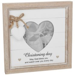 Provence Christening Day Heart Photo Frame