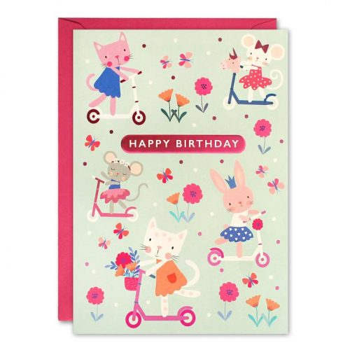 Scooters kids birthday card