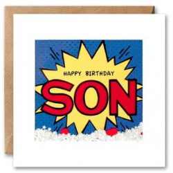 Son birthday kapow shakies card
