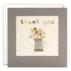 Thank you flower jug grey paper shakies card