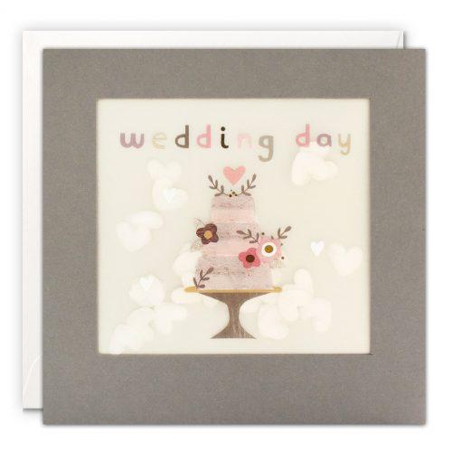 Wedding cake grey paper shakies card