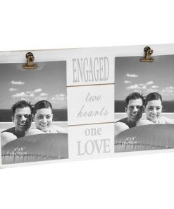 White Message Clip Double Photo Frame Engaged