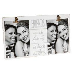 White Message Clip Double Photo Frame Friends